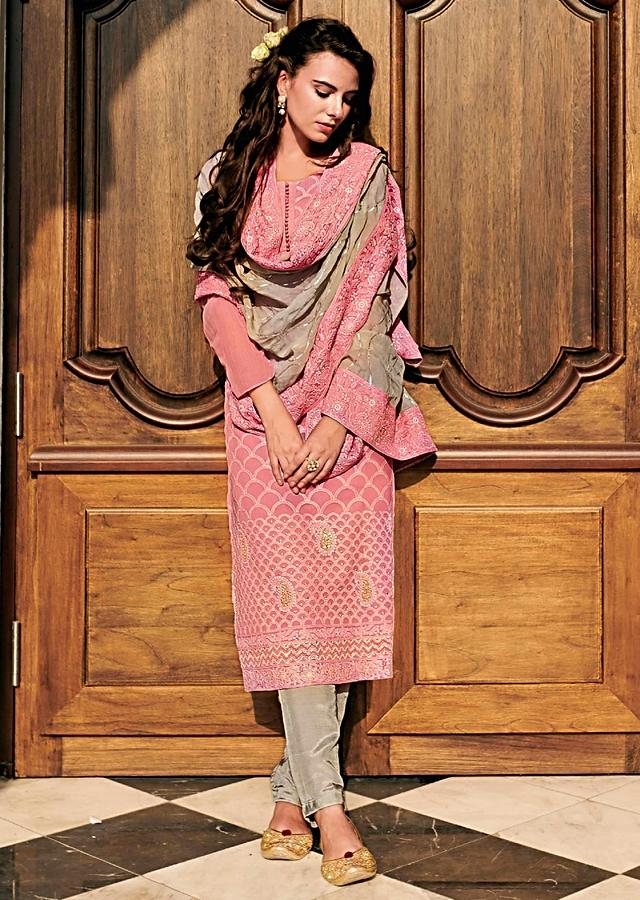 Light Pink Straight Suit In Chiffon With Moroccan Motif Embroidery Online - Kalki Fashion