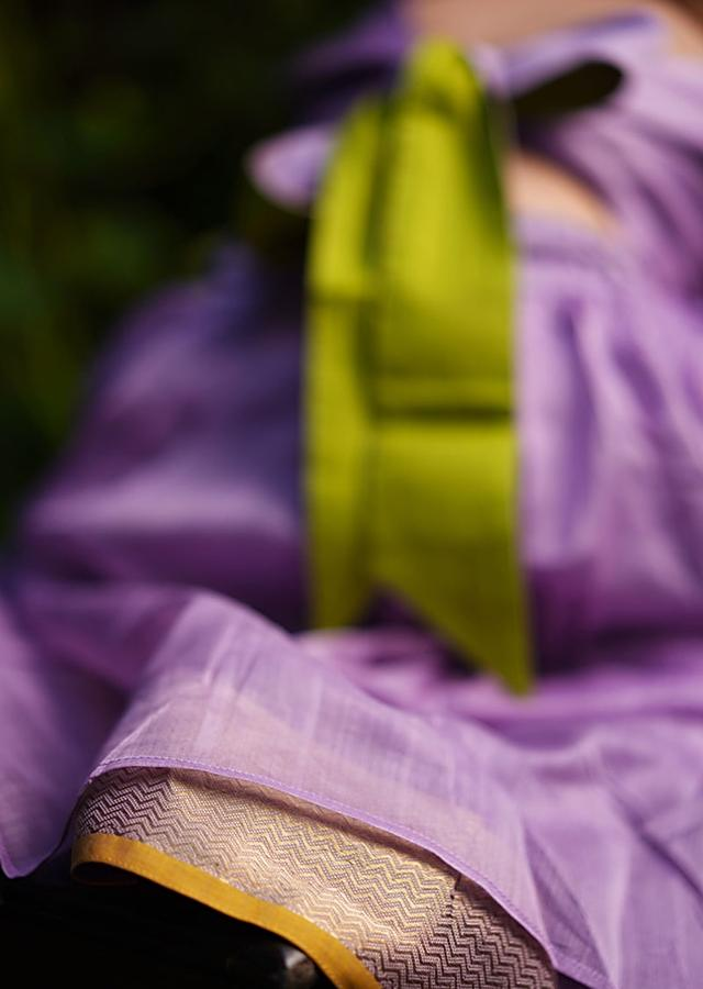 Light Purple Skirt And Crop Top In Hand Woven Cotton Silk With Tie Up At The Back And Woven Border By Love The World Today