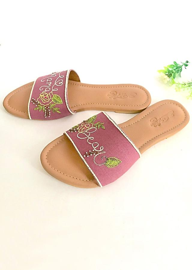 Light Purple Slider Flats With Silver Nakshi Mama Bear Text And Floral Design Online By Sole House