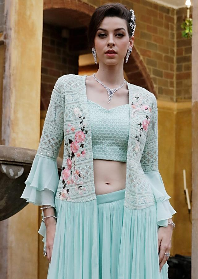 Light Sea Green Palazzo Suit With Ruffle Sleeve Jacket And Lucknowi Embroidery Online - Kalki Fashion