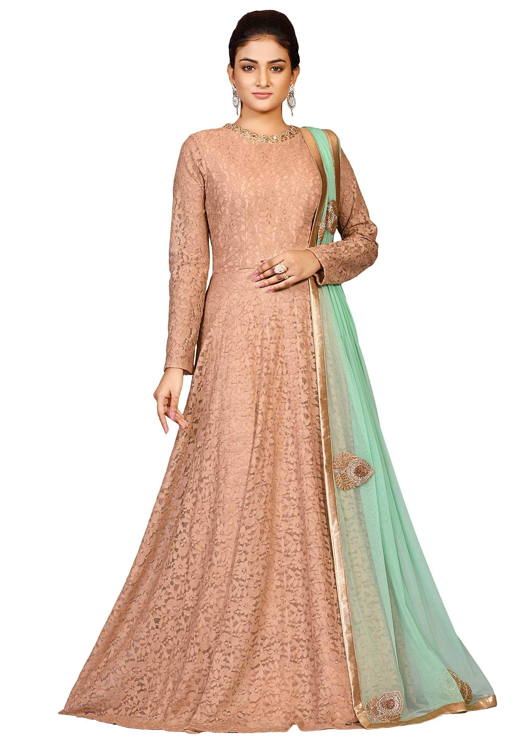 7cdf4f89ae Light Brown fancy net gown with sea green chunni embellished in zardosi  embroidery only on KalkiMore Detail