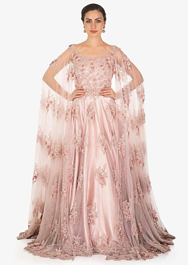 Light Lilac Pink Gown In Embroidered Net With Fancy Sleeve Online - Kalki Fashion