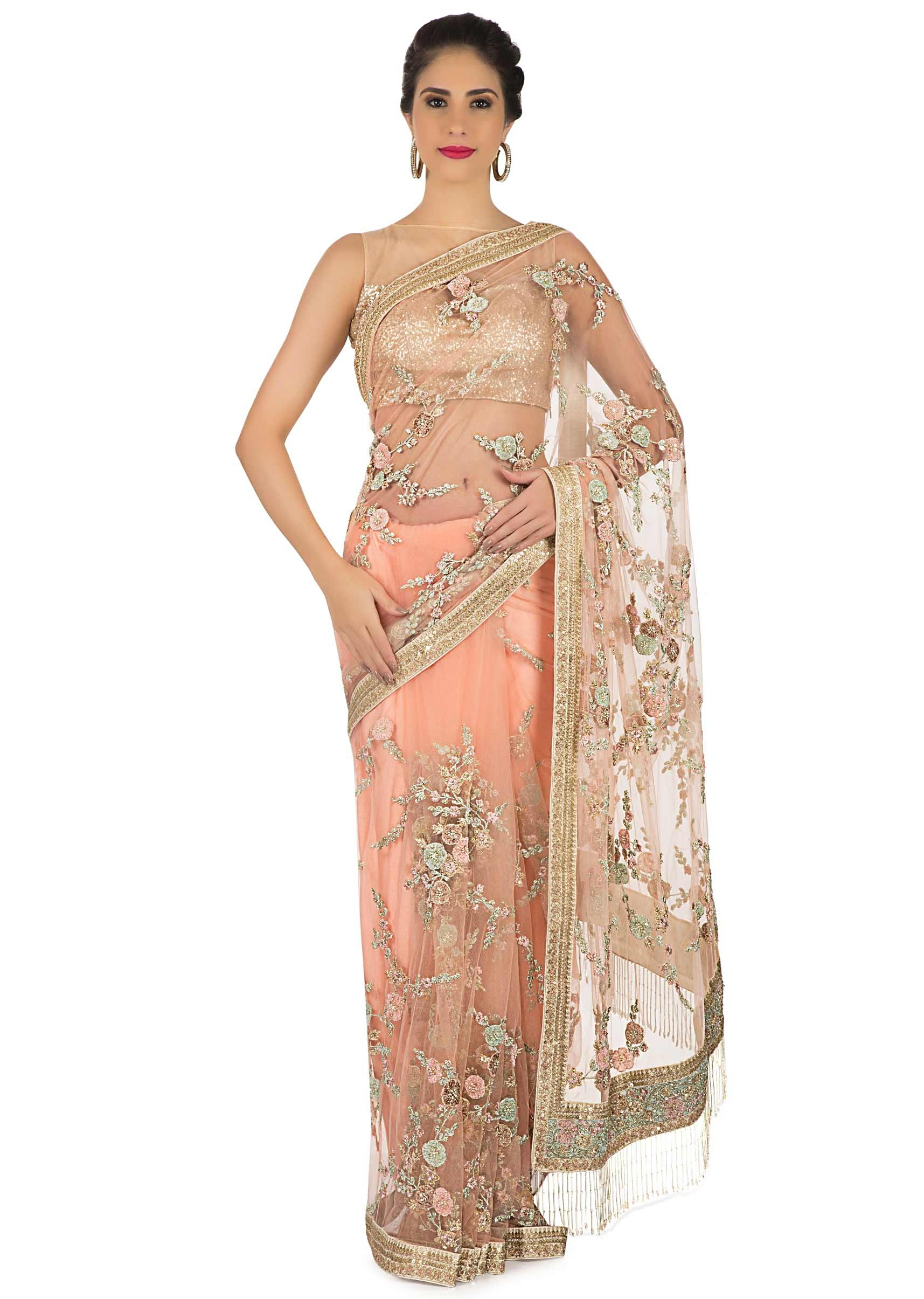 Light Peach Saree Net With Resham Velvet Floral Embroidery