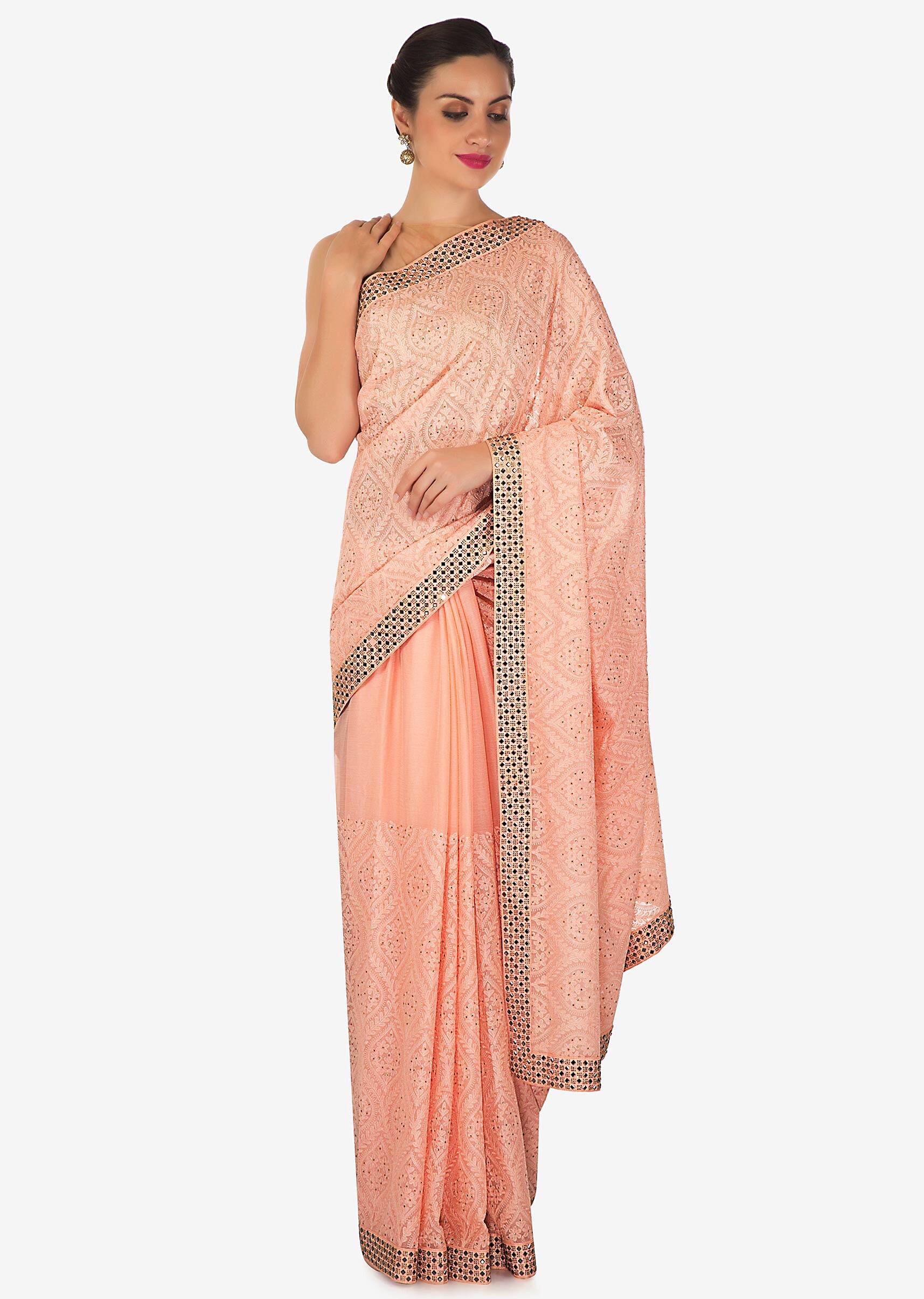 ed548edcfca5d Light pink saree in georgette with thread and kundan work only on Kalki