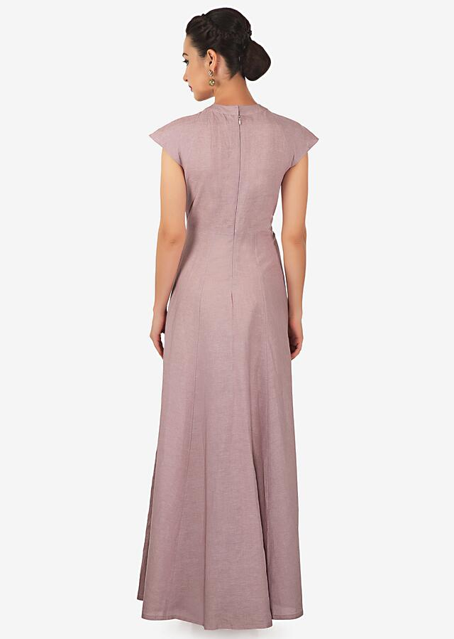 Lilac And Cream Dress Enhanced In Gathers And Cut Dana Work In Cat Motif Online - Kalki Fashion
