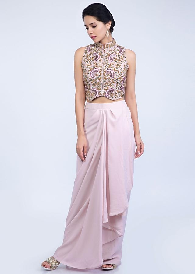 Lilac Skirt With Fancy Drape And Heavy Embroidered Crop Top In Raw Silk Online - Kalki Fashion