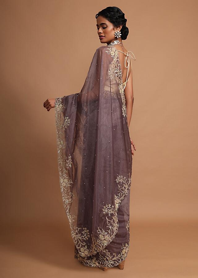 Lilac purple organza saree with  floral embroidery Online - Kalki Fashion