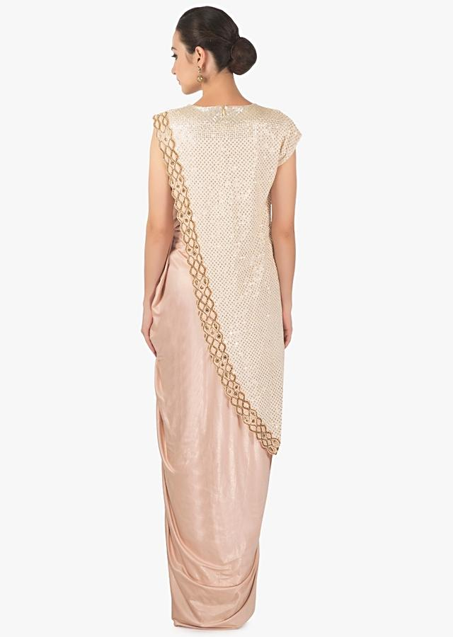 Lilac Peach Dress In Lycra With A Contrasting Fancy Jacket With Embroidered Border Online - Kalki Fashion