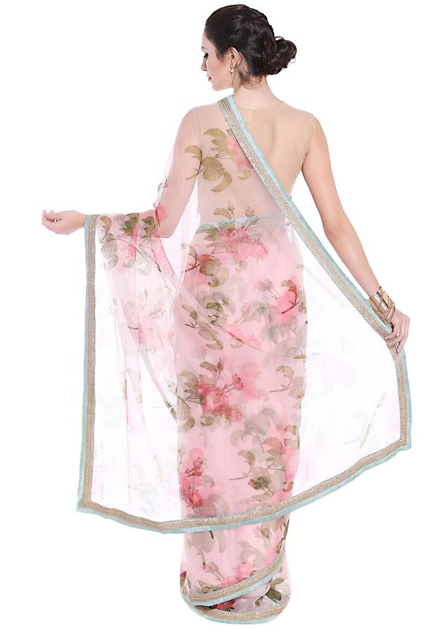 Lilac Pink Saree Embellished In Floral Motif With Contrast Border Online - Kalki Fashion
