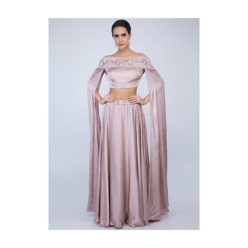 c800c279478bd6 Lilac satin skirt with off shoulder crop top with extended flared sleeves  only on Kalki