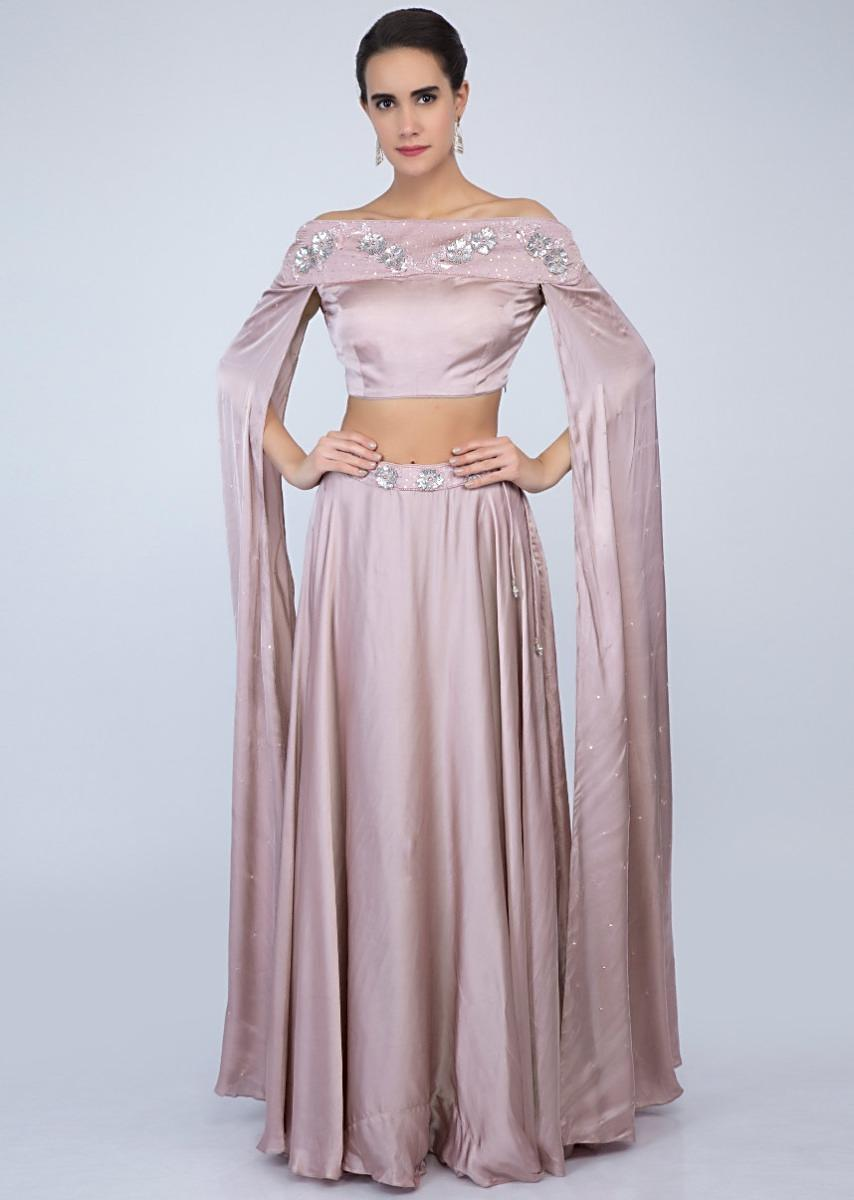 6895d0ca3bb606 Lilac satin skirt with off shoulder crop top with extended flared sleeves  only on KalkiMore Detail