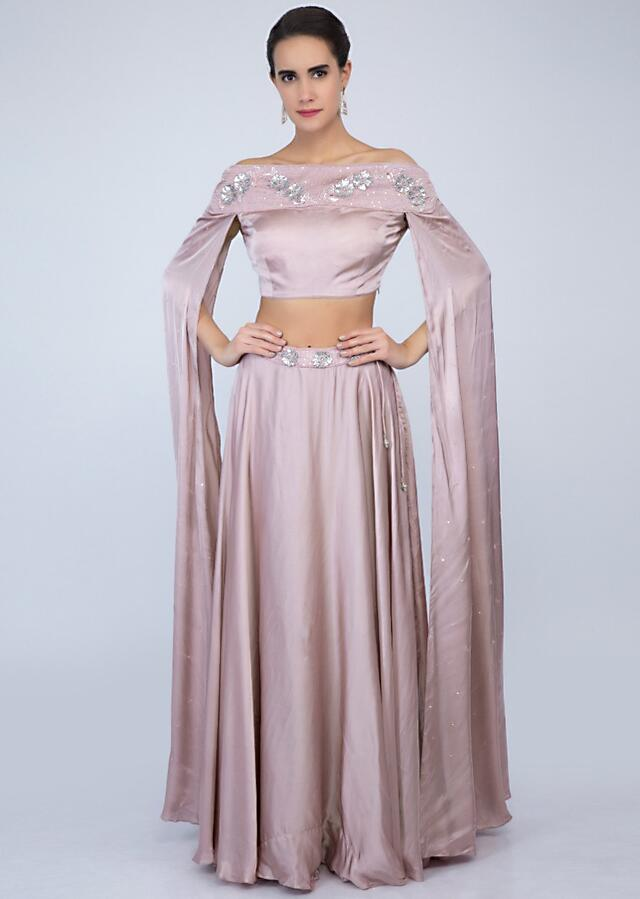 Lilac Satin Skirt With Off Shoulder Crop Top With Extended Flared Sleeves Online - Kalki Fashion