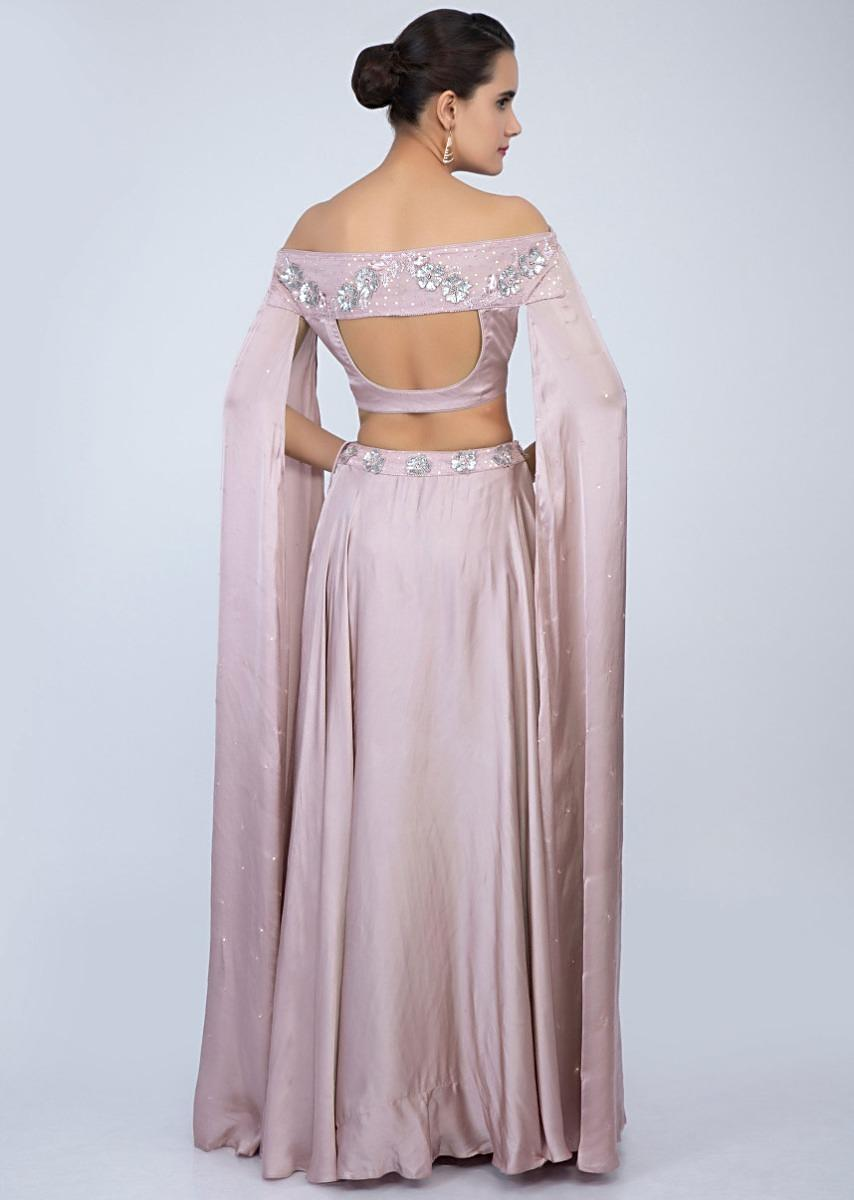 9db380ac296ef2 Lilac satin skirt with off shoulder crop top with extended flared sleeves  only on Kalki