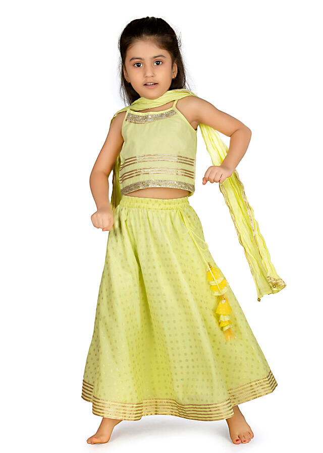 Lime And Yellow Lehenga Choli In Cotton With Polka Dot Work  By Mini Chic