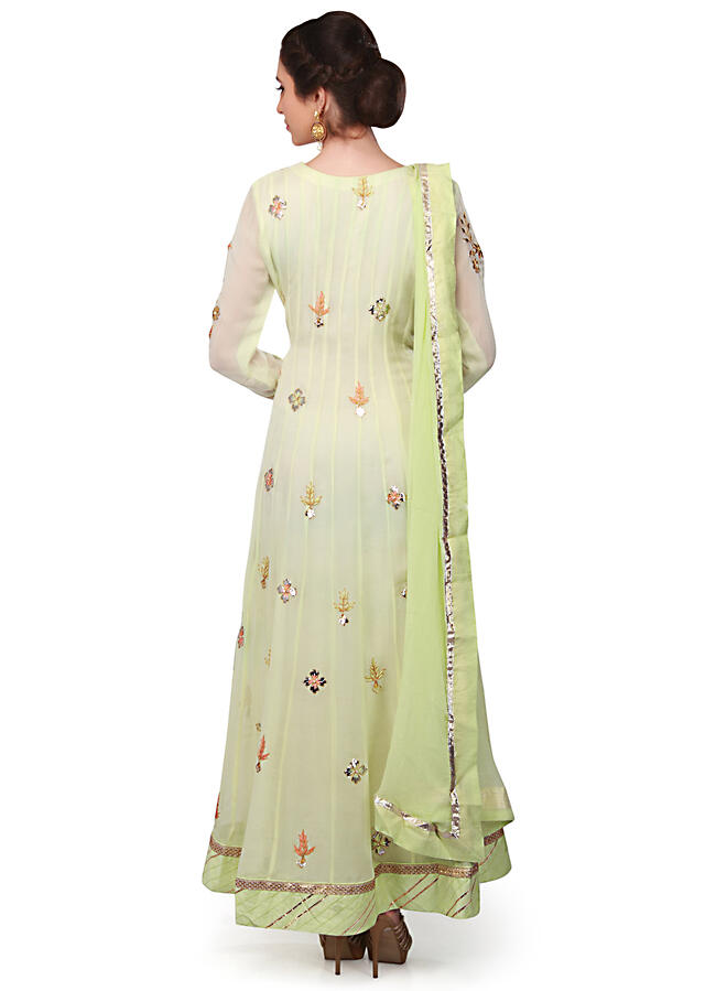 Lime Green Anarkali Suit In Georgette With Gotta Patch And Resham Online - Kalki Fashion