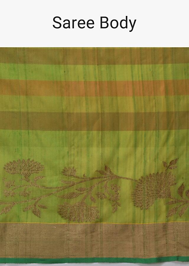 Lime Green And Gold Pure Handloom Saree In Tussar Silk With Stripes And Woven Floral Border Online - Kalki Fashion