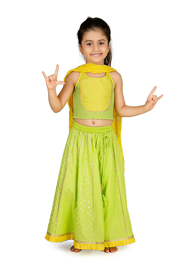 Lime Green And Yellow Lehenga And Sleeveless Choli In Cotton With Polka Dots By Mini Chic