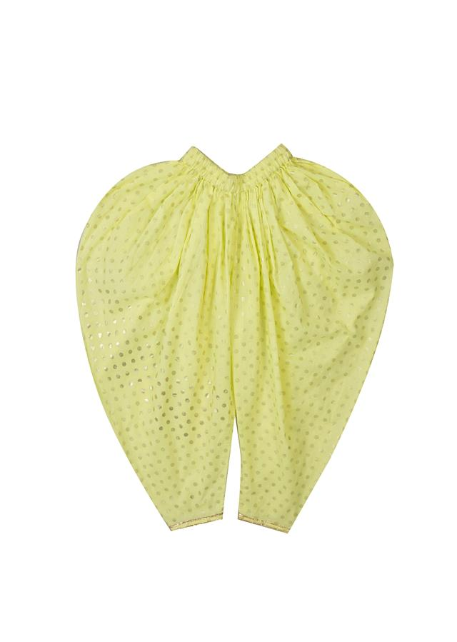 Lime Green And Yellow Polka Dot Jacket And Cowl Pant Set With Embroidered Lace By Mini Chic