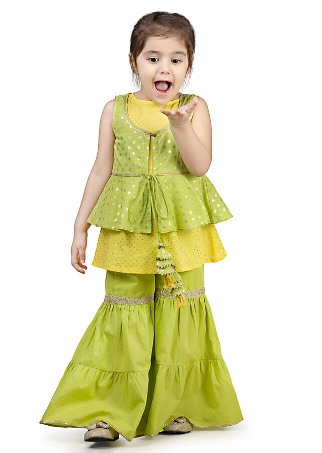 Lime Green And Yellow Sharara Set With A Short Jacket And Inner Adorned In Polka Dots By Mini Chic