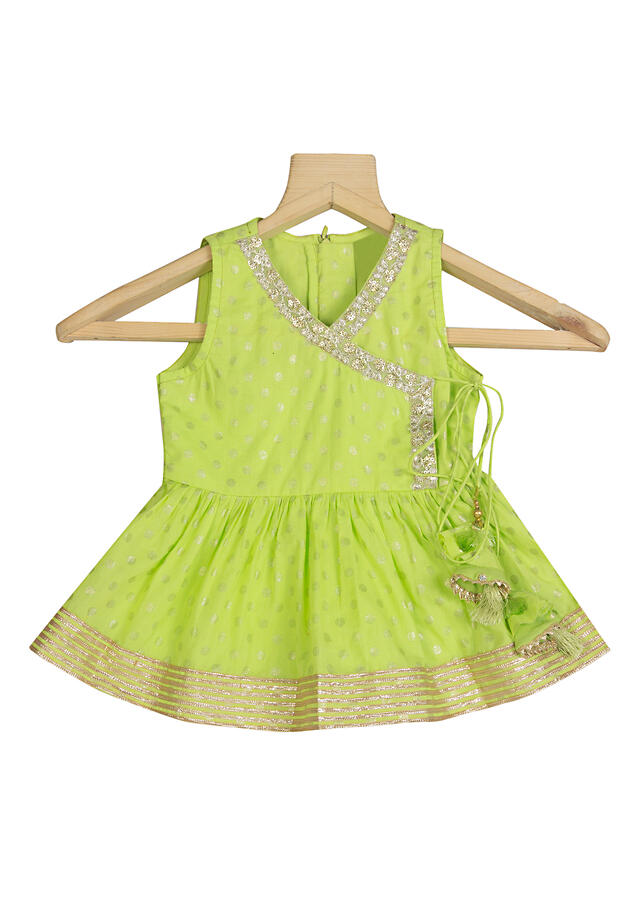 Lime Green Angrakha Top And Cowl Pants Set In Cotton With Polka Dots And Embroidered Lace By Mini Chic