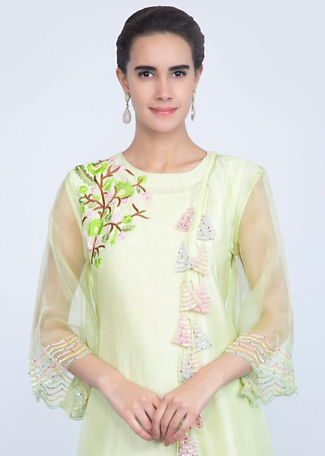 Lime Green Asymmetric Kurti With Multi Color Thread Embroidery Online - Kalki Fashion