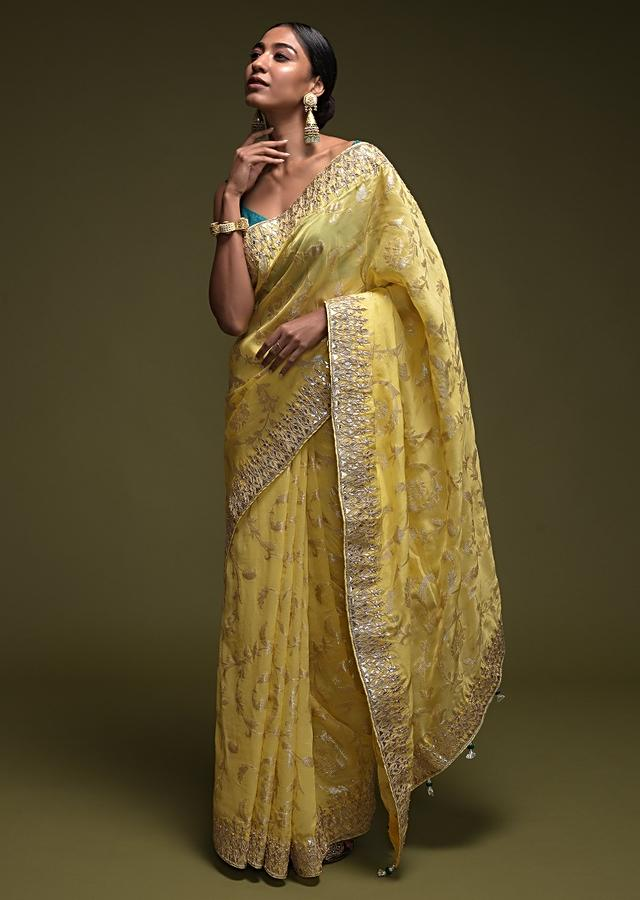 Lime Green Banarasi Saree In Silk Blend With Woven Floral Jaal Online - Kalki Fashion