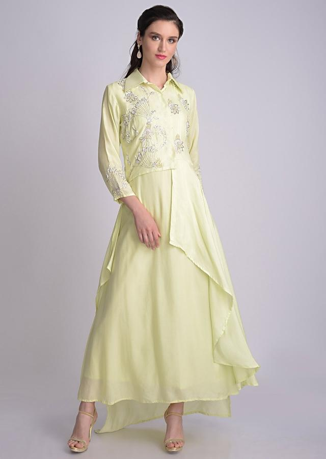Lime Green Cotton Silk Suit With Asymmetric Embroidered Jacket Online - Kalki Fashion