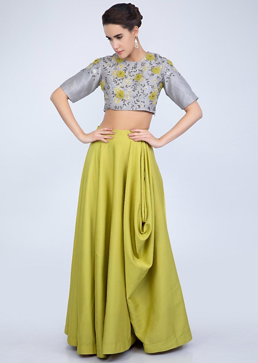 the cheapest special promotion quite nice Lime Green Skirt With Cowl Drape And Grey Raw Silk Embroidered Crop Top  Online - Kalki Fashion