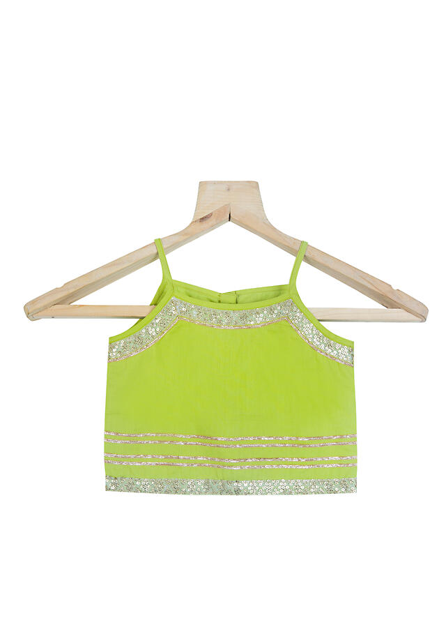 Lime Green Dhoti And Crop Top Set In Cotton With A Ruffle Dupatta And Sequins Work By Mini Chic