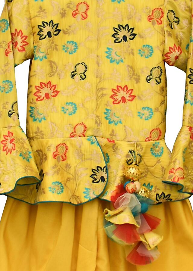 Lime Green Dhoti Suit And Peplum Top With Brocade Floral Jaal By Fayon Kids