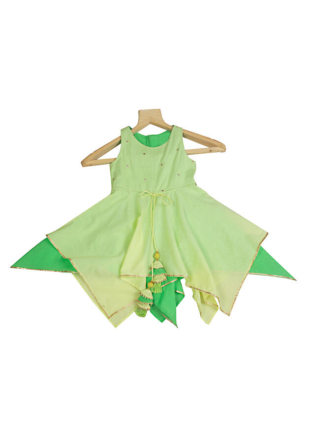 Lime Green Dress In Cotton With Mirror Work And Handkerchief Cut Hemline By Mini Chic