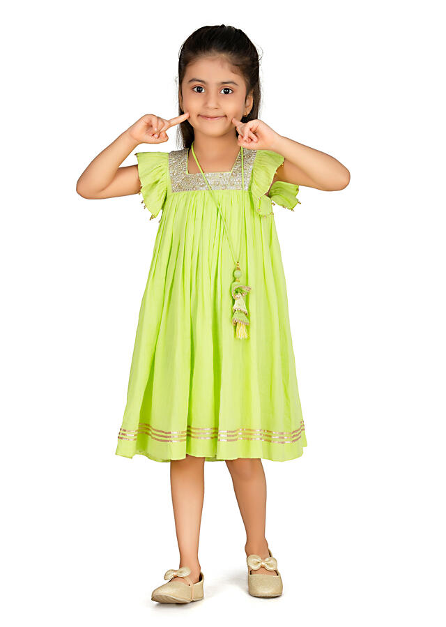 Lime Green Dress In Cotton With Sequins Work And Ruffle Cap Sleeves By Mini Chic