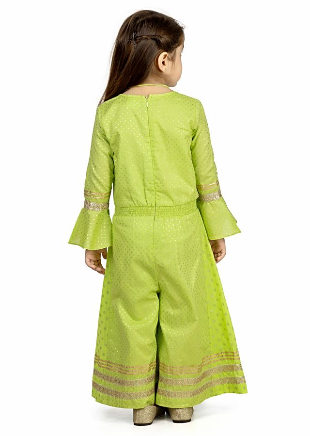 Lime Green Jumpsuit In Cotton With Ruffle Sleeves And Embroidered Lace Detailing By Mini Chic