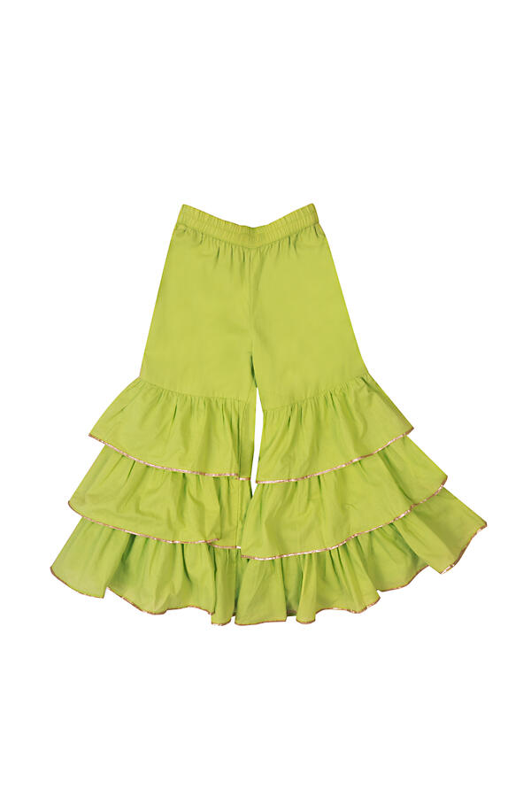 Lime Green Layered Sharara And Bell Sleeved One Shoulder Crop Top Set With Mirror Work By Mini Chic
