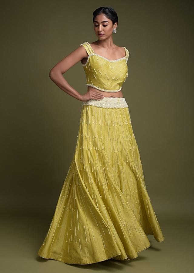 Lime Green Lehenga And Crop Top In Silk Embellished With Pearls Online - Kalki Fashion