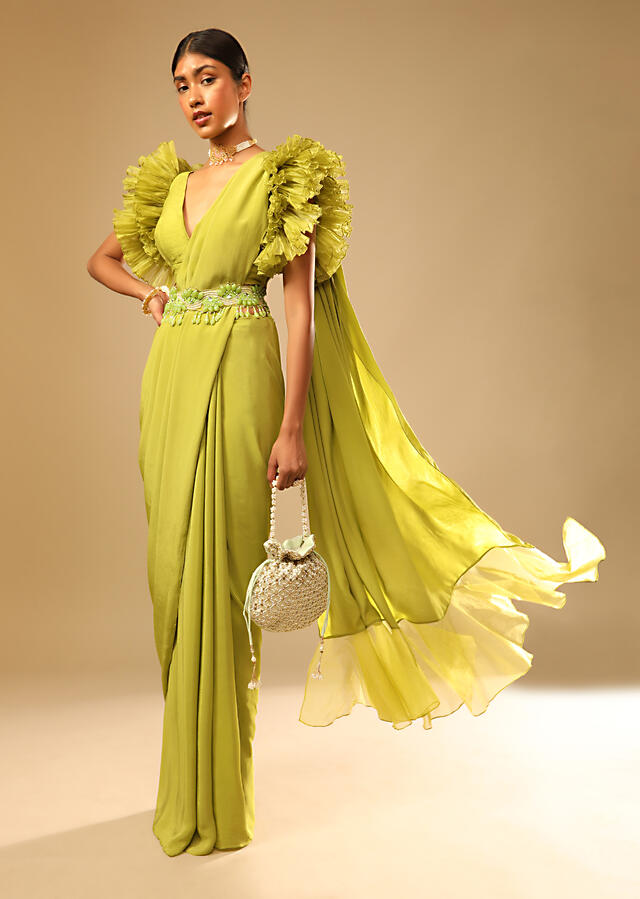 Lime Green Saree In Georgette With Elaborate Ruffle Sleeved Crop Top And Heavy Stone Embroidered Belt Online - Kalki Fashion