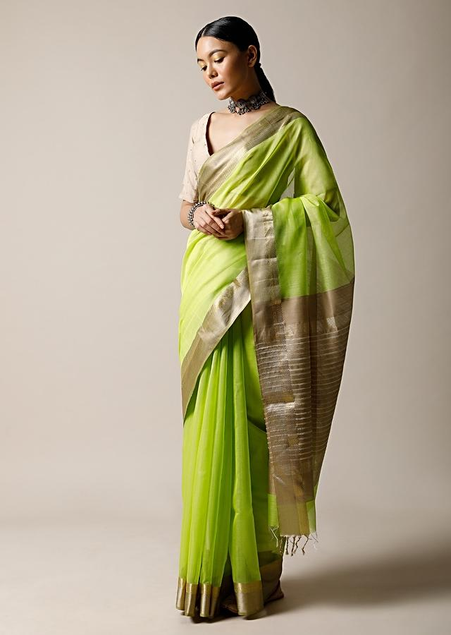 Lime Green Saree In Cotton Silk With Woven Golden Border And Contrasting Unstitched Blouse Online - Kalki Fashion