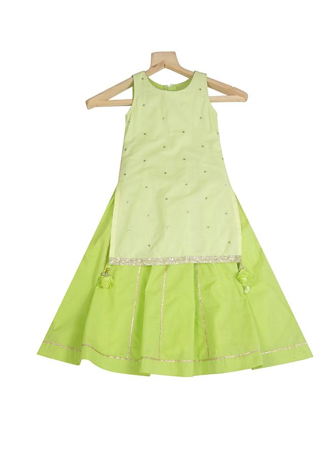 Lime Green Skirt And Kurta Set In Cotton With Mirror Work And Tassel Detailing By Mini Chic