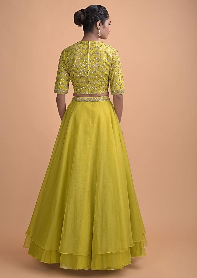 Lime Green Skirt In Organza With An Embellished Blouse And Ruffle Dupatta Online - Kalki Fashion