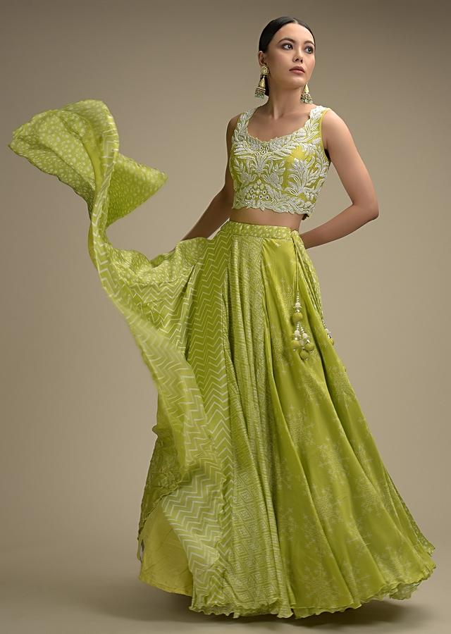 Lime Green Skirt In With Printed Kalis And Heavy Embellished Crop Top With Mirror And Cut Dana Work Online - Kalki Fashion