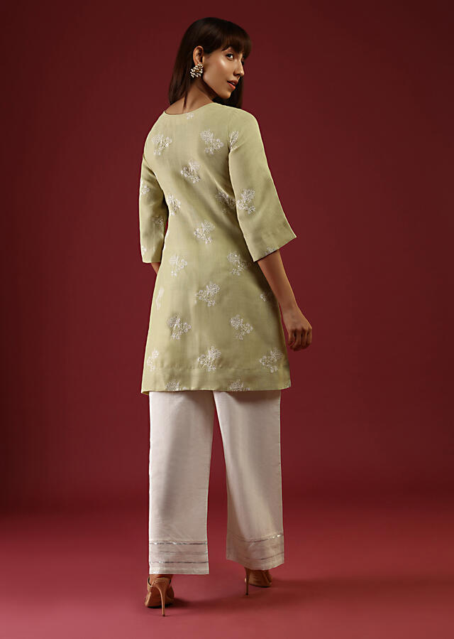 Lime Green Straight Cut Kurta Set With Thread And Sequins Embroidered Floral Buttis Online - Kalki Fashion