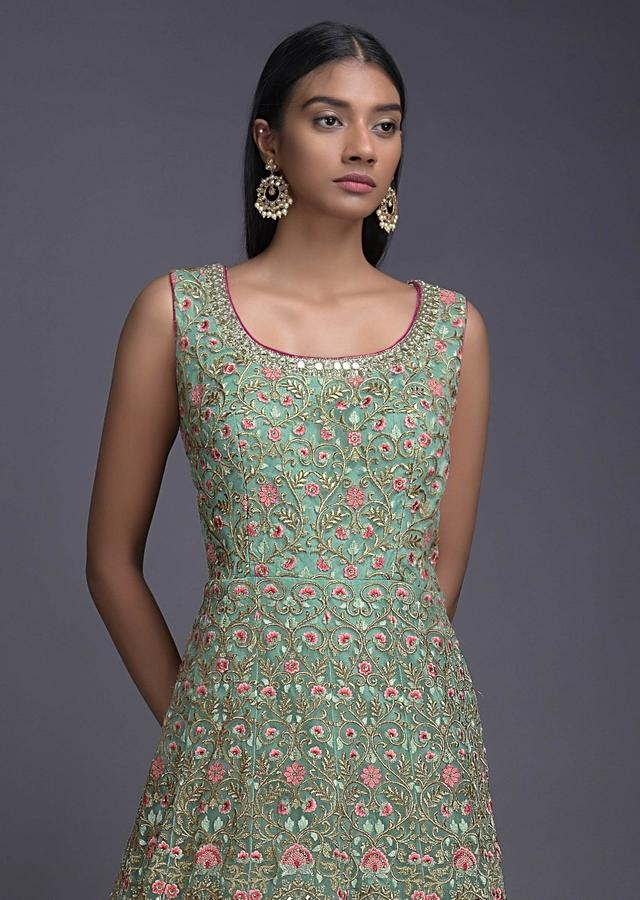 Lime Tart Green Anarkali Suit With Floral Jaal And Mirror Embroidery Online - Kalki Fashion