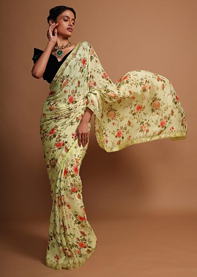 Lime yellow floral printed chiffon saree with cut dana embroidered butti and border Online - Kalki Fashion