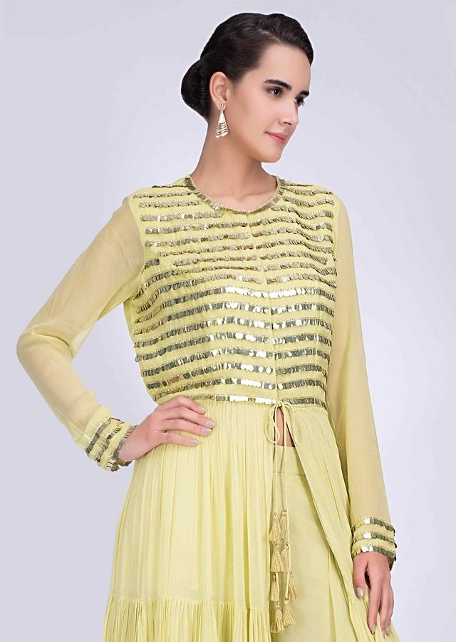 Lime Yellow Palazzo In Georgette With Long Embroidered Jacket Designed With Center Slit Online - Kalki Fashion