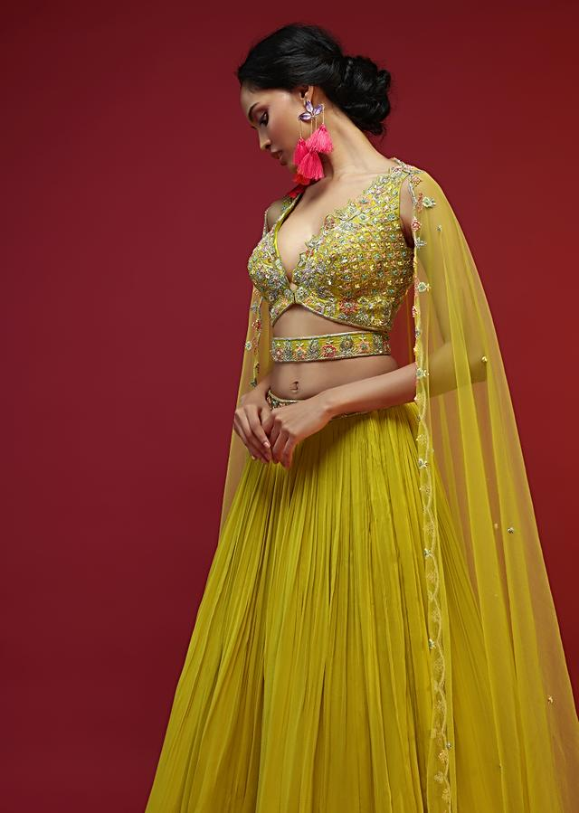 Lime Yellow Lehenga Choli With Multi Colored Beads And Sequins Work And A Matching Embroidered Belt At The Waist Online - Kalki Fashion