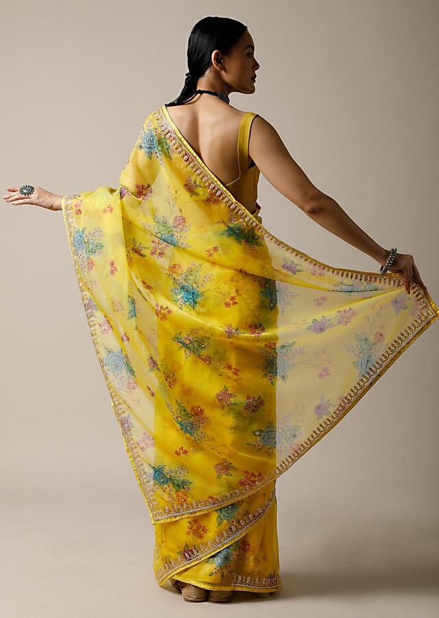 Lime Yellow Saree In Organza With Floral Print And Cut Dana Work Along With Unstitched Blouse Online - Kalki Fashion