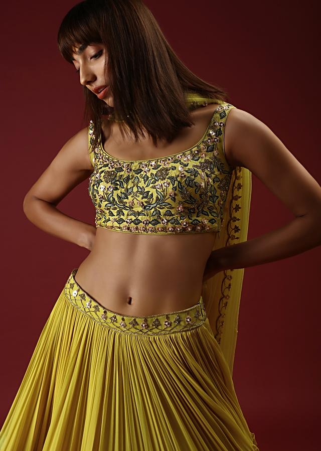 Lime Yellow Tiered Lehenga Choli With Hand Embroidered Multi Colored Resham Jaal And Accented With Flower Shaped Sequins Online - Kalki Fashion