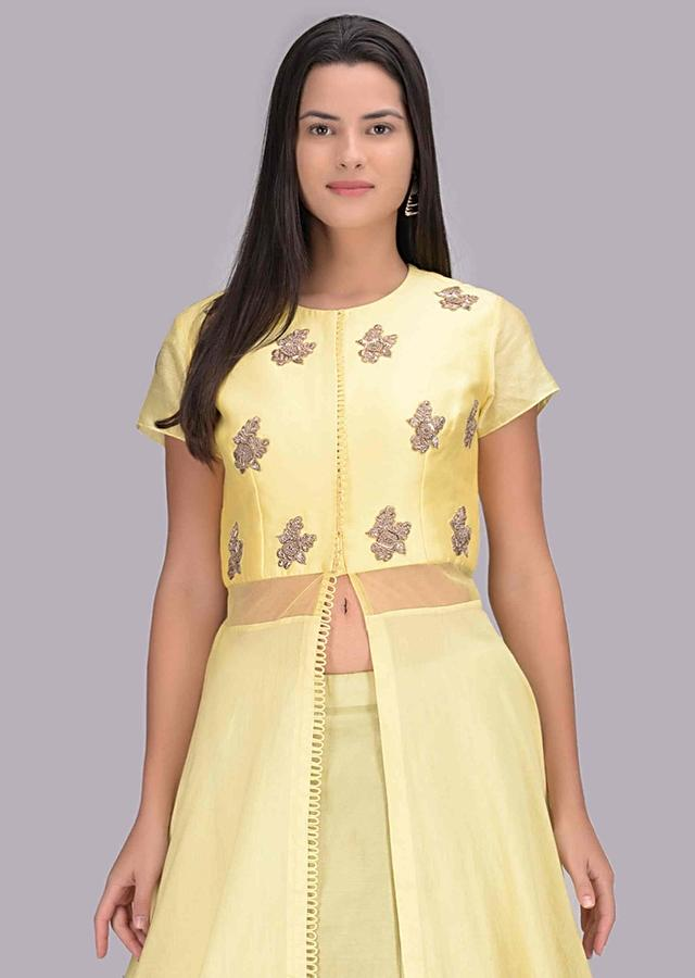 Lime Green Lehenga And Lemon Yellow Front Slit Top Set In Cotton Fabric Online - Kalki Fashion