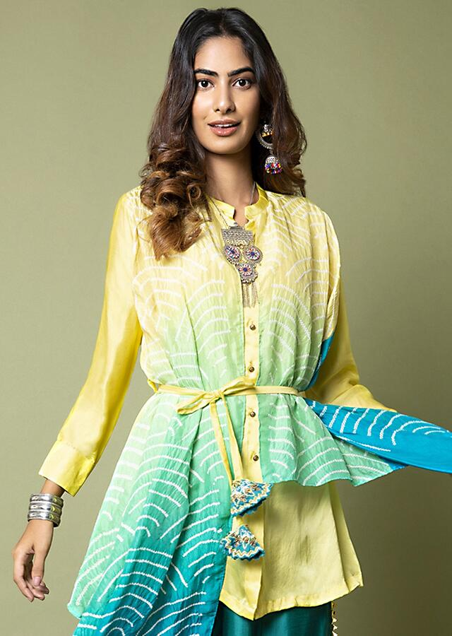 Limon Yellow Shirt With Attached Turquoise Ombré Bandhani Drape And Pleated Turquoise Palazzo Pants Online - Kalki Fashion