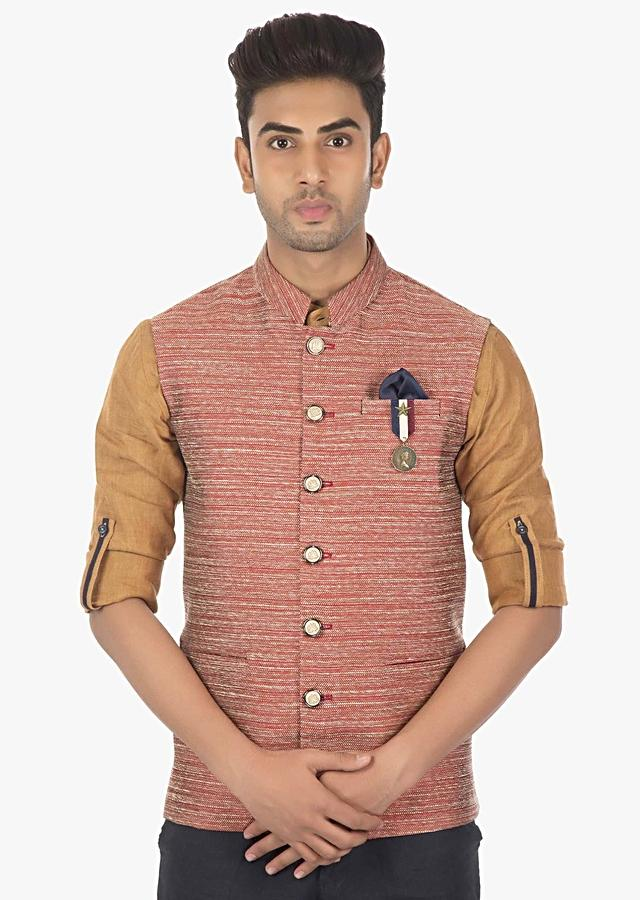 Linen Pant, Shirt And Fancy Fabric Silk Waist Coat Only Online - Kalki Fashion